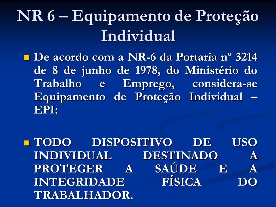 Responsabilidade da DRTE: Fiscalizar e orientar quanto ao uso adequado e a qualidade do EPI; Fiscalizar e orientar quanto ao uso adequado e a qualidade do EPI; Recolher amostras de EPI; e, Recolher amostras de EPI; e, Aplicar, na sua esfera de competência, as penalidades cabíveis pelo descumprimento da NR-6.