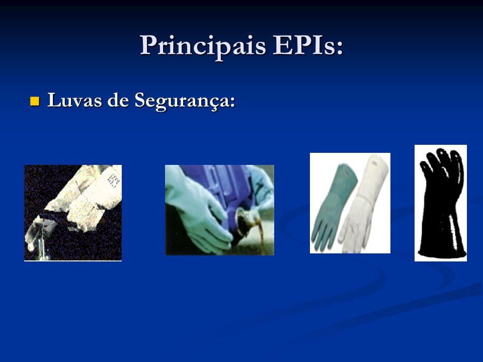 Principais EPIs: Cintos de Segurança: Cintos de Segurança: