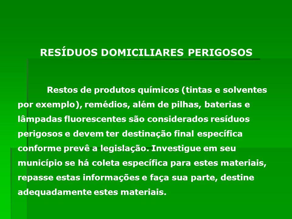 Restos de produtos químicos (tintas e solventes por exemplo), remédios, além de pilhas, baterias e lâmpadas fluorescentes são considerados resíduos pe