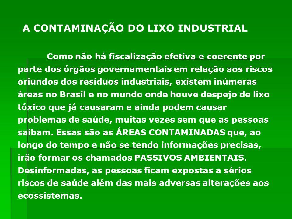 Como não há fiscalização efetiva e coerente por parte dos órgãos governamentais em relação aos riscos oriundos dos resíduos industriais, existem inúme