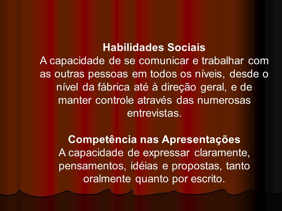 Habilidades Sociais A capacidade de se comunicar e trabalhar com as outras pessoas em todos os níveis, desde o nível da fábrica até à direção geral, e