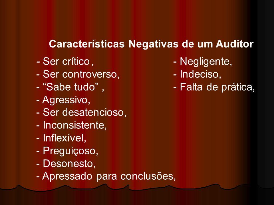 Características Negativas de um Auditor - Ser crítico,- Negligente, - Ser controverso,- Indeciso, - Sabe tudo,- Falta de prática, - Agressivo, - Ser d