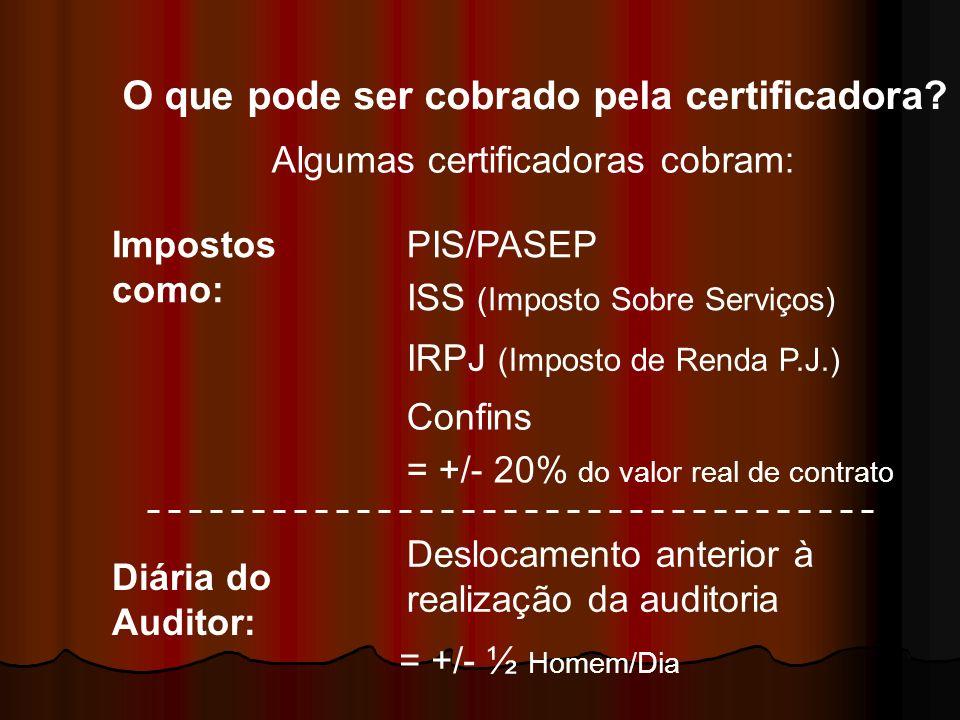 O que pode ser cobrado pela certificadora? Algumas certificadoras cobram: Impostos como: PIS/PASEP ISS (Imposto Sobre Serviços) IRPJ (Imposto de Renda
