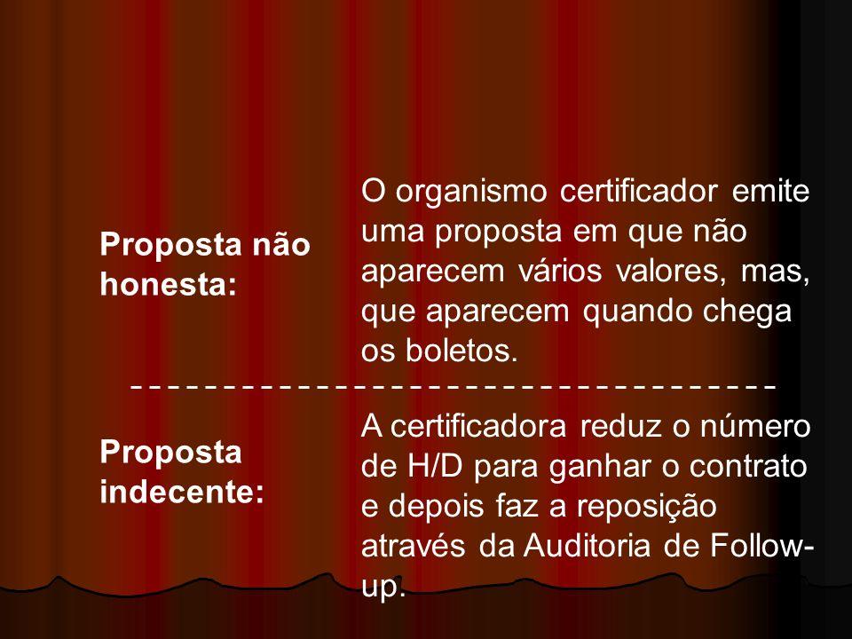 Proposta não honesta: Proposta indecente: A certificadora reduz o número de H/D para ganhar o contrato e depois faz a reposição através da Auditoria d
