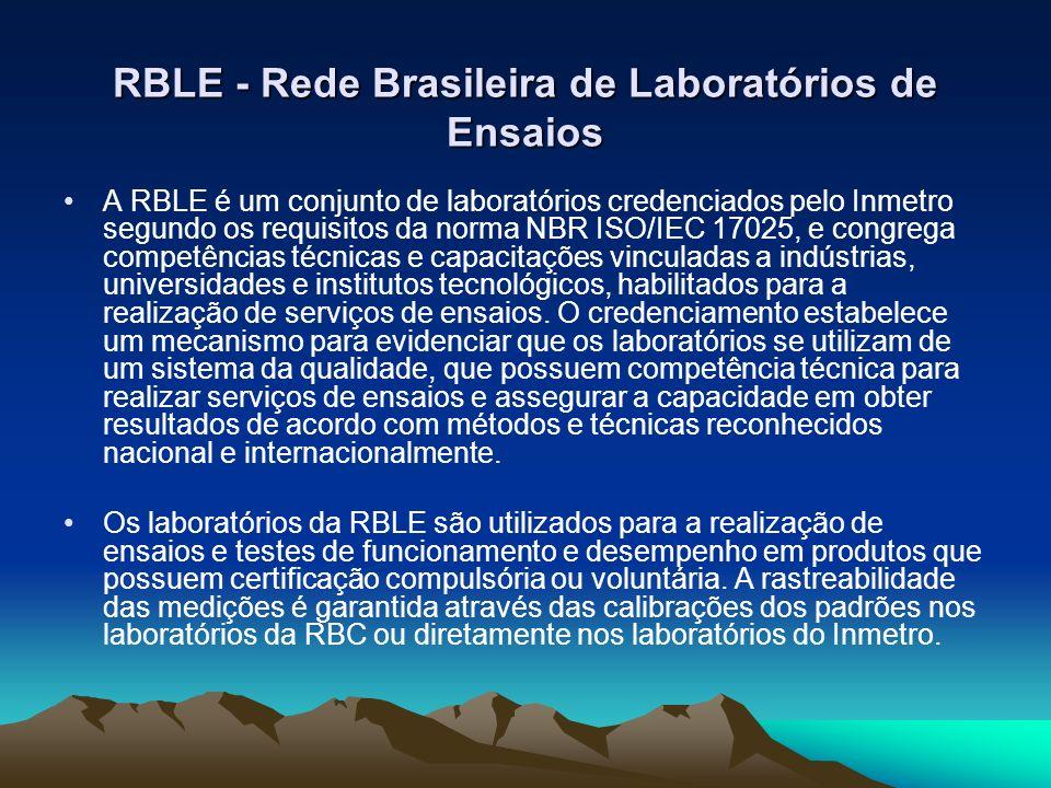 RBLE - Rede Brasileira de Laboratórios de Ensaios A RBLE é um conjunto de laboratórios credenciados pelo Inmetro segundo os requisitos da norma NBR IS