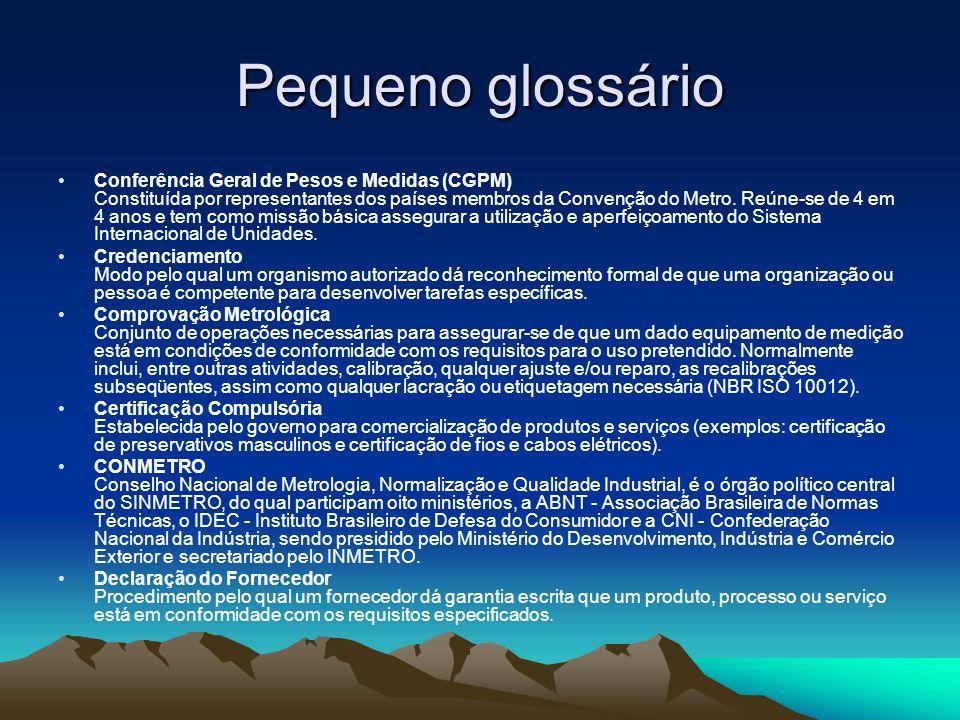 Pequeno glossário Conferência Geral de Pesos e Medidas (CGPM) Constituída por representantes dos países membros da Convenção do Metro. Reúne-se de 4 e