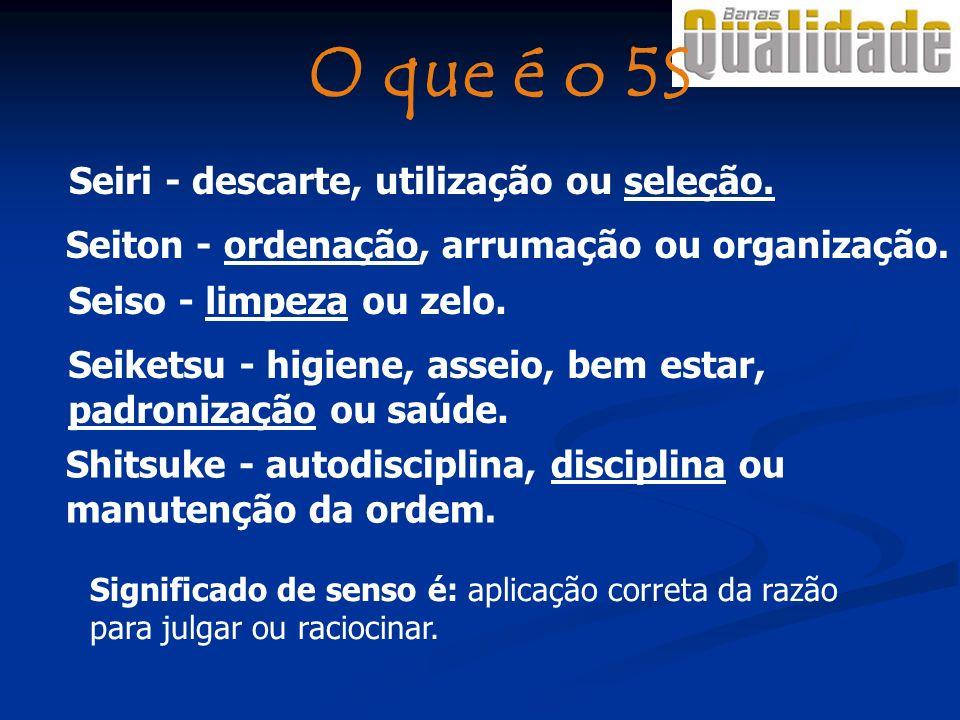 Seiton - ordenação, arrumação ou organização. Seiketsu - higiene, asseio, bem estar, padronização ou saúde. Shitsuke - autodisciplina, disciplina ou m