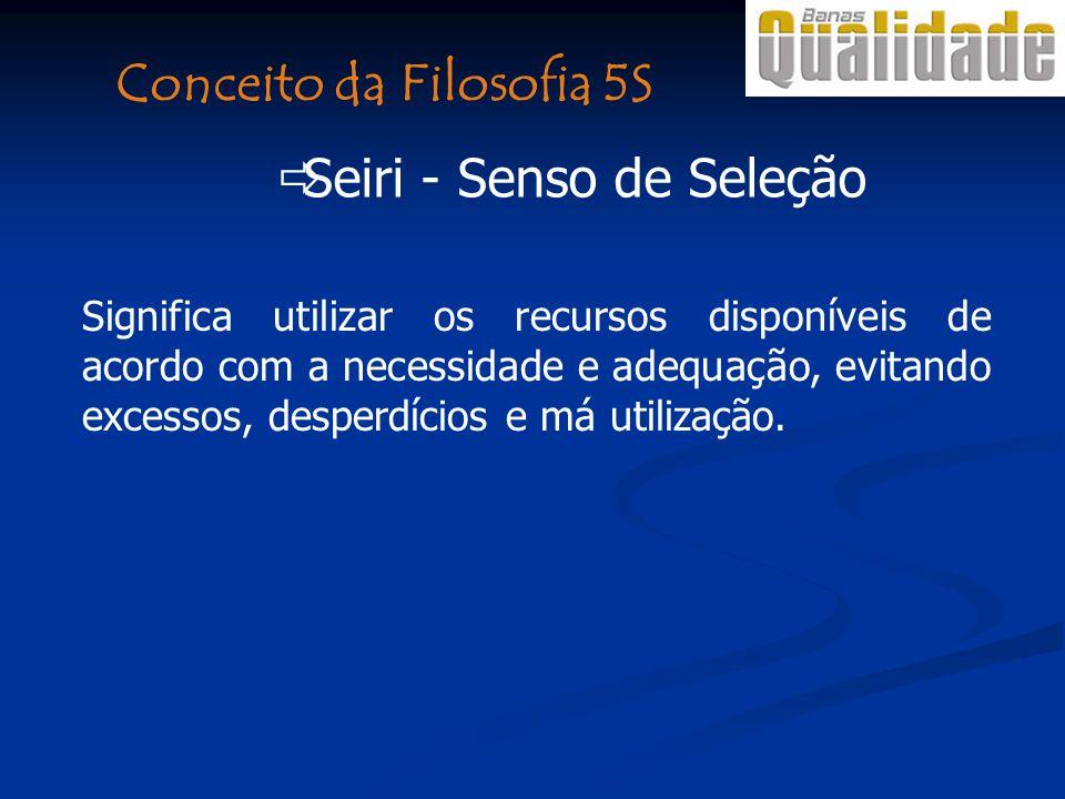 Conceito da Filosofia 5S Seiri - Senso de Seleção Significa utilizar os recursos disponíveis de acordo com a necessidade e adequação, evitando excessos, desperdícios e má utilização.