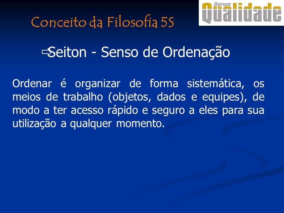 Seiton - Senso de Ordenação Ordenar é organizar de forma sistemática, os meios de trabalho (objetos, dados e equipes), de modo a ter acesso rápido e seguro a eles para sua utilização a qualquer momento.