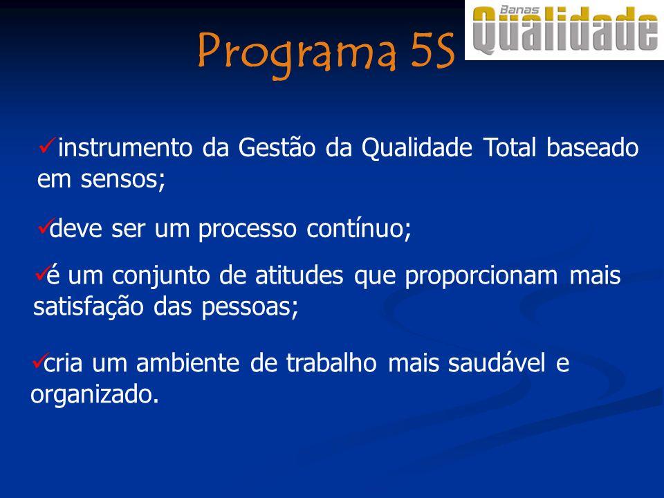 Programa 5S instrumento da Gestão da Qualidade Total baseado em sensos; é um conjunto de atitudes que proporcionam mais satisfação das pessoas; deve ser um processo contínuo; cria um ambiente de trabalho mais saudável e organizado.