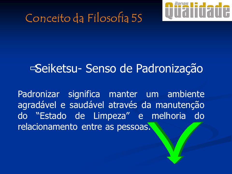 Seiketsu- Senso de Padronização Padronizar significa manter um ambiente agradável e saudável através da manutenção do Estado de Limpeza e melhoria do