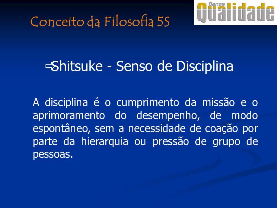 Shitsuke - Senso de Disciplina A disciplina é o cumprimento da missão e o aprimoramento do desempenho, de modo espontâneo, sem a necessidade de coação por parte da hierarquia ou pressão de grupo de pessoas.