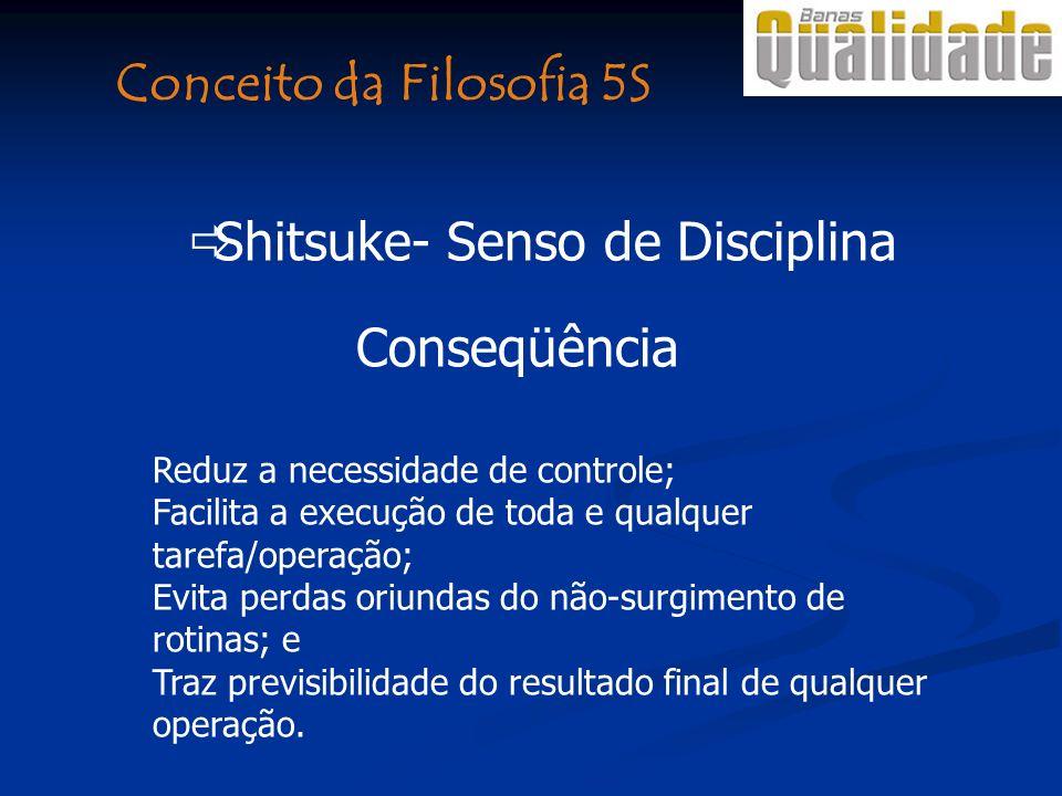 Conseqüência Reduz a necessidade de controle; Facilita a execução de toda e qualquer tarefa/operação; Evita perdas oriundas do não-surgimento de rotin