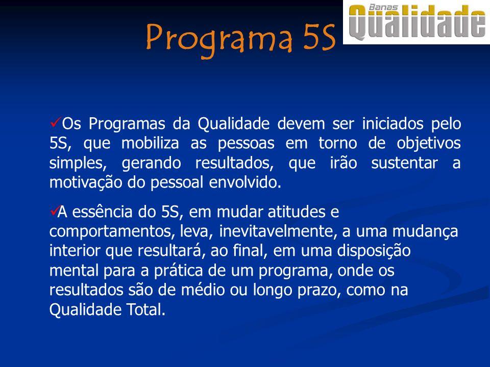 Os Programas da Qualidade devem ser iniciados pelo 5S, que mobiliza as pessoas em torno de objetivos simples, gerando resultados, que irão sustentar a