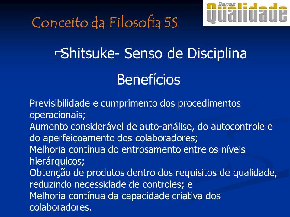 Benefícios Previsibilidade e cumprimento dos procedimentos operacionais; Aumento considerável de auto-análise, do autocontrole e do aperfeiçoamento do
