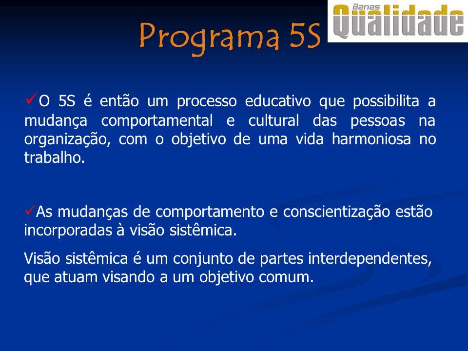 A prática do 5S é o início para a implantação de um Sistema de Gestão da Qualidade; contempla todos os requisitos tais como treinamento, melhoria contínua, motivação, trabalho em equipe, gerenciamento participativo.