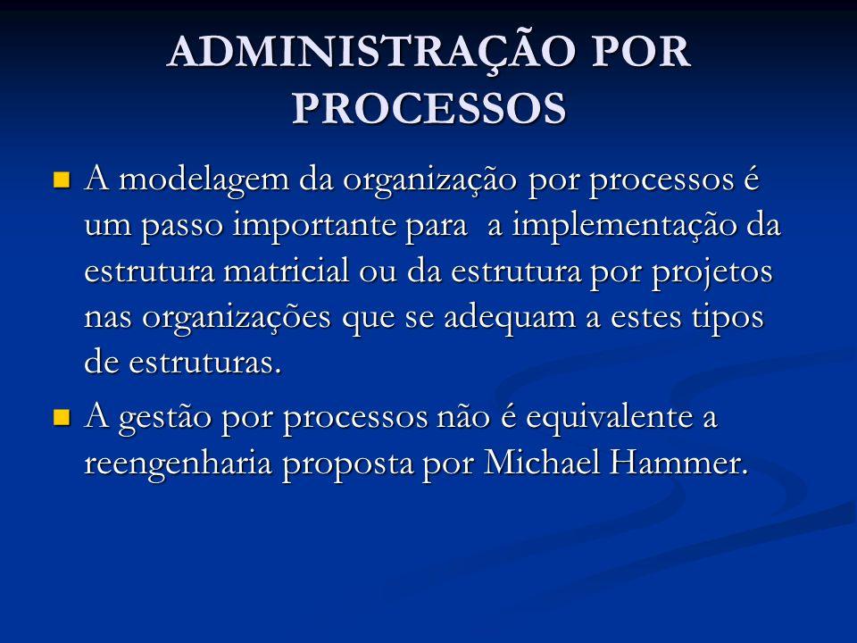 ADMINISTRAÇÃO POR PROCESSOS A modelagem da organização por processos é um passo importante para a implementação da estrutura matricial ou da estrutura