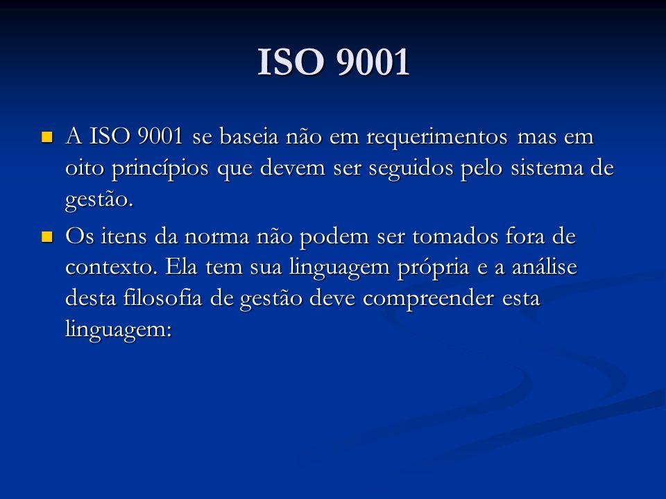 ISO 9001 A ISO 9001 se baseia não em requerimentos mas em oito princípios que devem ser seguidos pelo sistema de gestão. A ISO 9001 se baseia não em r