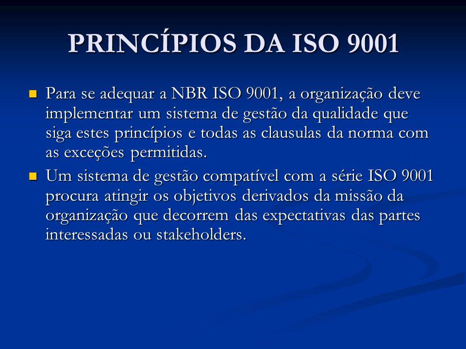 PRINCÍPIOS DA ISO 9001 Para se adequar a NBR ISO 9001, a organização deve implementar um sistema de gestão da qualidade que siga estes princípios e to