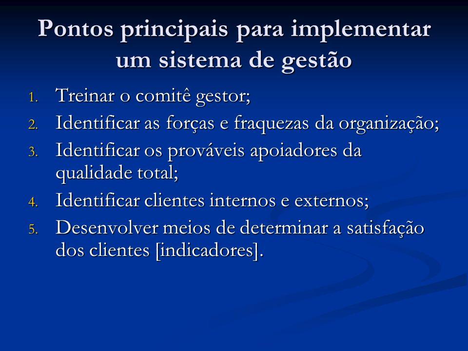 Pontos principais para implementar um sistema de gestão 1. Treinar o comitê gestor; 2. Identificar as forças e fraquezas da organização; 3. Identifica