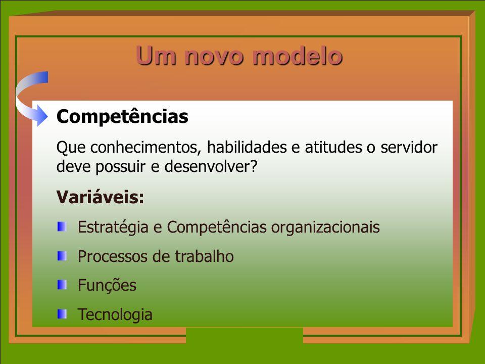 Competências Que conhecimentos, habilidades e atitudes o servidor deve possuir e desenvolver? Variáveis: Estratégia e Competências organizacionais Pro