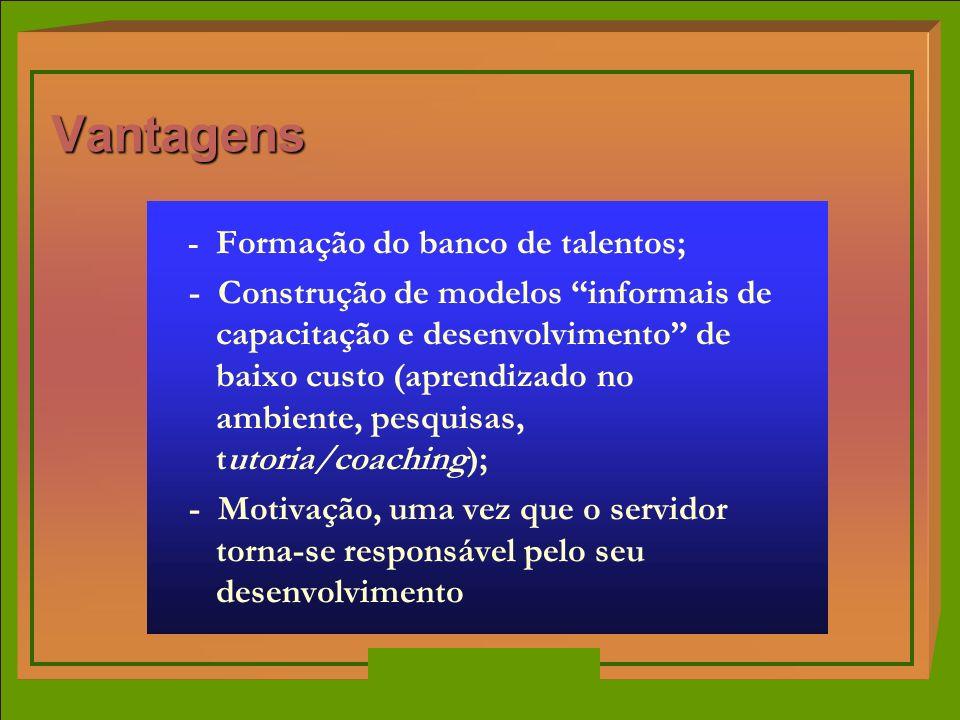 - Formação do banco de talentos; - Construção de modelos informais de capacitação e desenvolvimento de baixo custo (aprendizado no ambiente, pesquisas