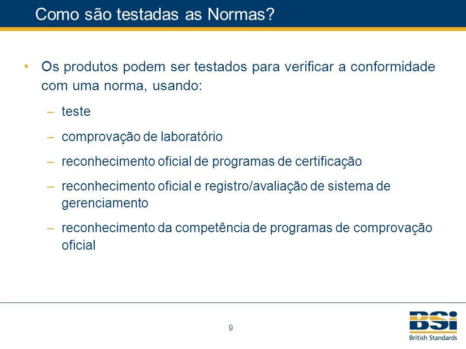 9 Como são testadas as Normas.