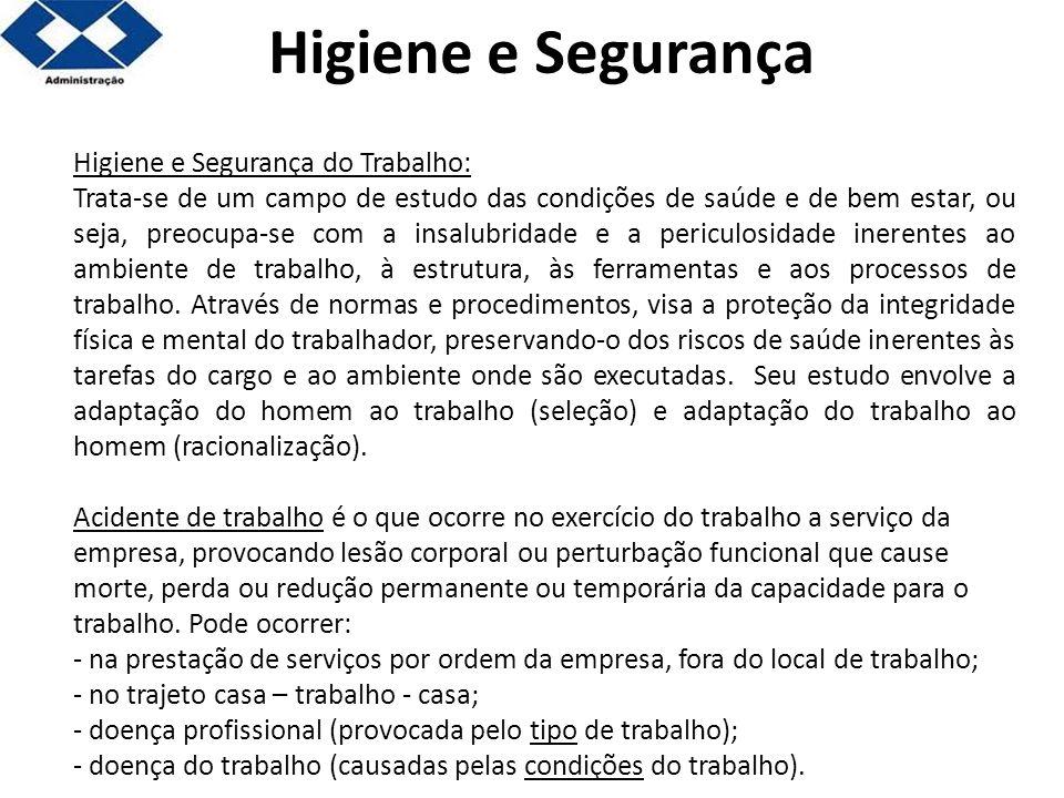 Higiene e Segurança do Trabalho: Trata-se de um campo de estudo das condições de saúde e de bem estar, ou seja, preocupa-se com a insalubridade e a pe