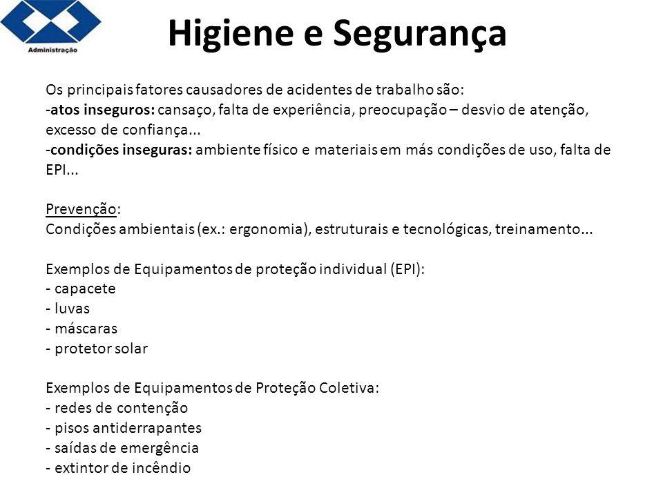 Os principais fatores causadores de acidentes de trabalho são: -atos inseguros: cansaço, falta de experiência, preocupação – desvio de atenção, excess