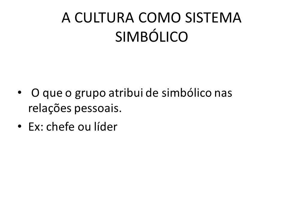 A CULTURA COMO SISTEMA SIMBÓLICO O que o grupo atribui de simbólico nas relações pessoais. Ex: chefe ou líder