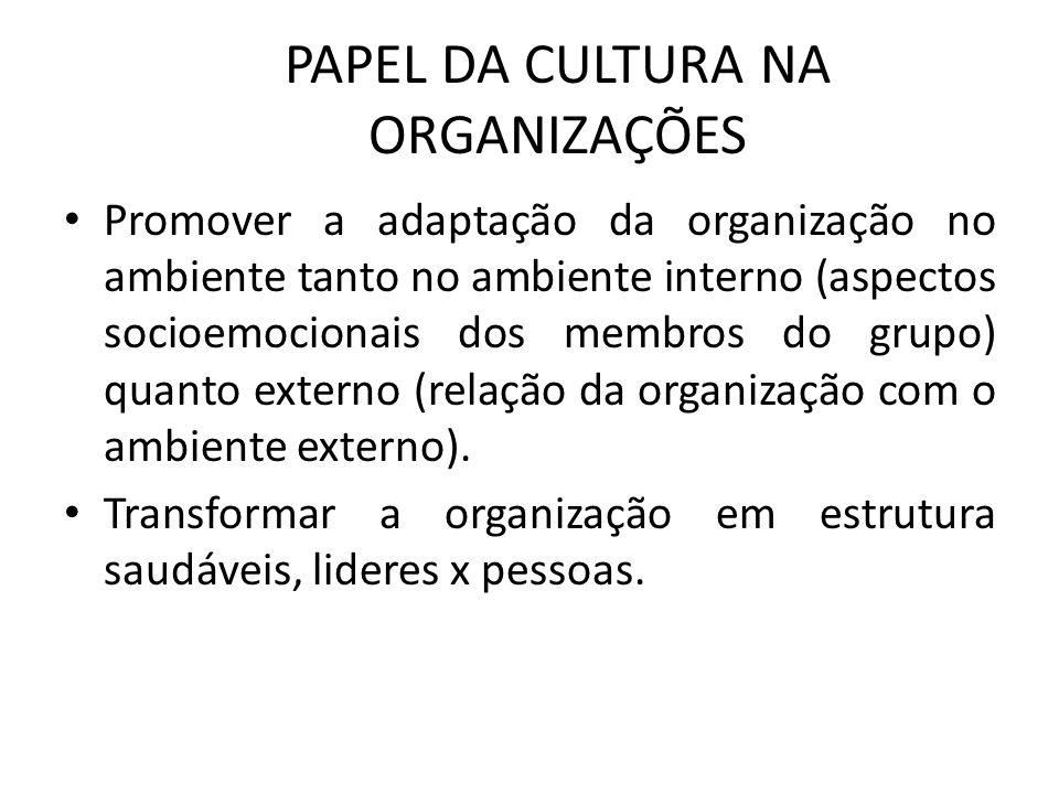 PAPEL DA CULTURA NA ORGANIZAÇÕES Promover a adaptação da organização no ambiente tanto no ambiente interno (aspectos socioemocionais dos membros do gr