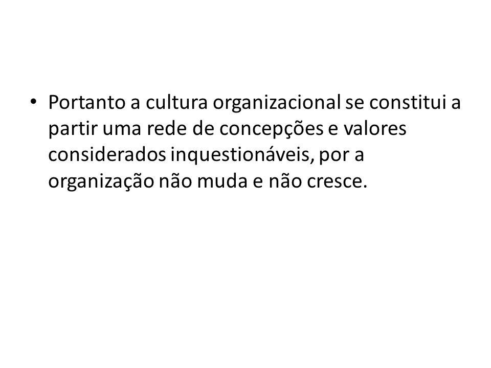 Portanto a cultura organizacional se constitui a partir uma rede de concepções e valores considerados inquestionáveis, por a organização não muda e nã