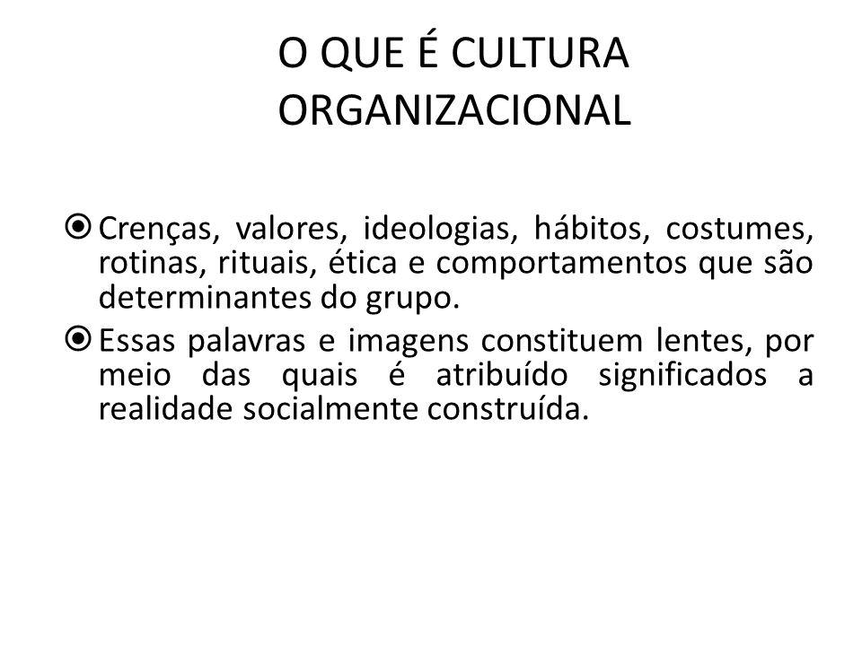 O QUE É CULTURA ORGANIZACIONAL Crenças, valores, ideologias, hábitos, costumes, rotinas, rituais, ética e comportamentos que são determinantes do grup