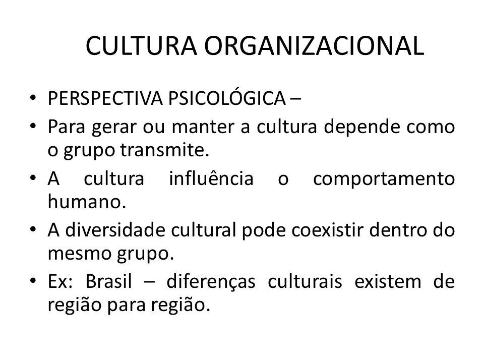 CULTURA ORGANIZACIONAL PERSPECTIVA PSICOLÓGICA – Para gerar ou manter a cultura depende como o grupo transmite. A cultura influência o comportamento h