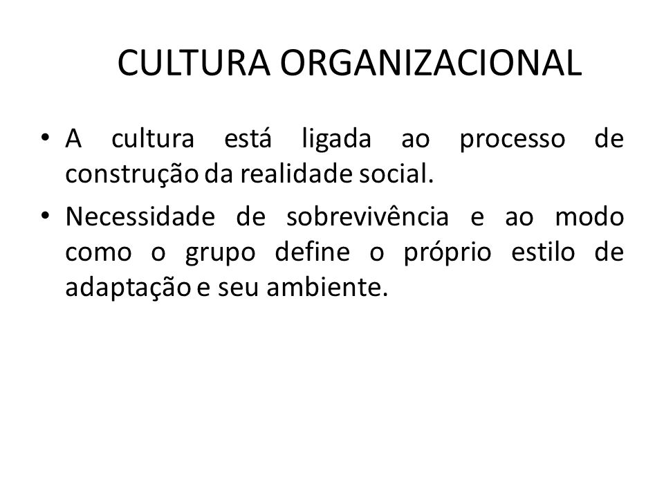 CULTURA ORGANIZACIONAL A cultura está ligada ao processo de construção da realidade social. Necessidade de sobrevivência e ao modo como o grupo define