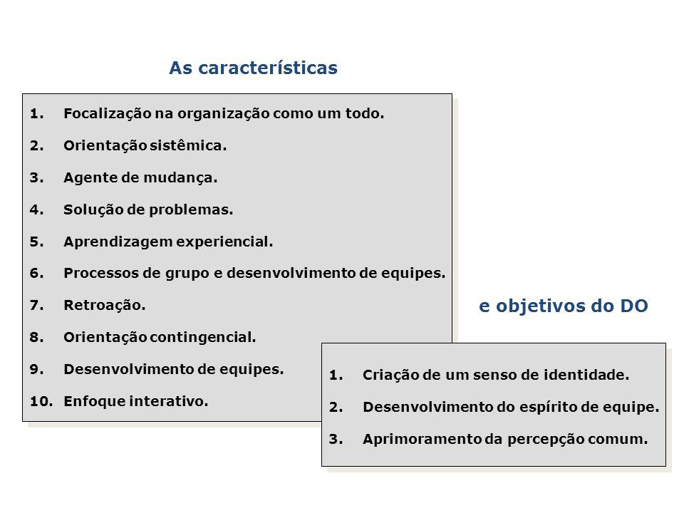 As características 1.Focalização na organização como um todo. 2.Orientação sistêmica. 3.Agente de mudança. 4.Solução de problemas. 5.Aprendizagem expe