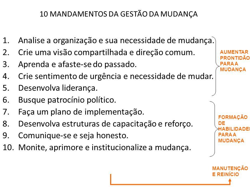 10 MANDAMENTOS DA GESTÃO DA MUDANÇA 1.Analise a organização e sua necessidade de mudança. 2.Crie uma visão compartilhada e direção comum. 3.Aprenda e