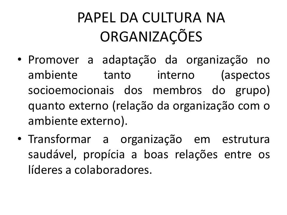 PAPEL DA CULTURA NA ORGANIZAÇÕES Promover a adaptação da organização no ambiente tanto interno (aspectos socioemocionais dos membros do grupo) quanto