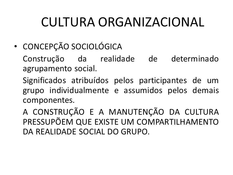 CULTURA ORGANIZACIONAL CONCEPÇÃO SOCIOLÓGICA Construção da realidade de determinado agrupamento social. Significados atribuídos pelos participantes de