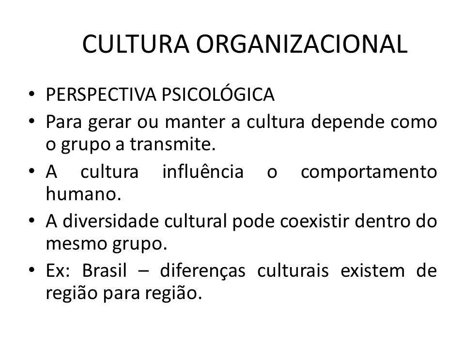 CULTURA ORGANIZACIONAL PERSPECTIVA PSICOLÓGICA Para gerar ou manter a cultura depende como o grupo a transmite. A cultura influência o comportamento h