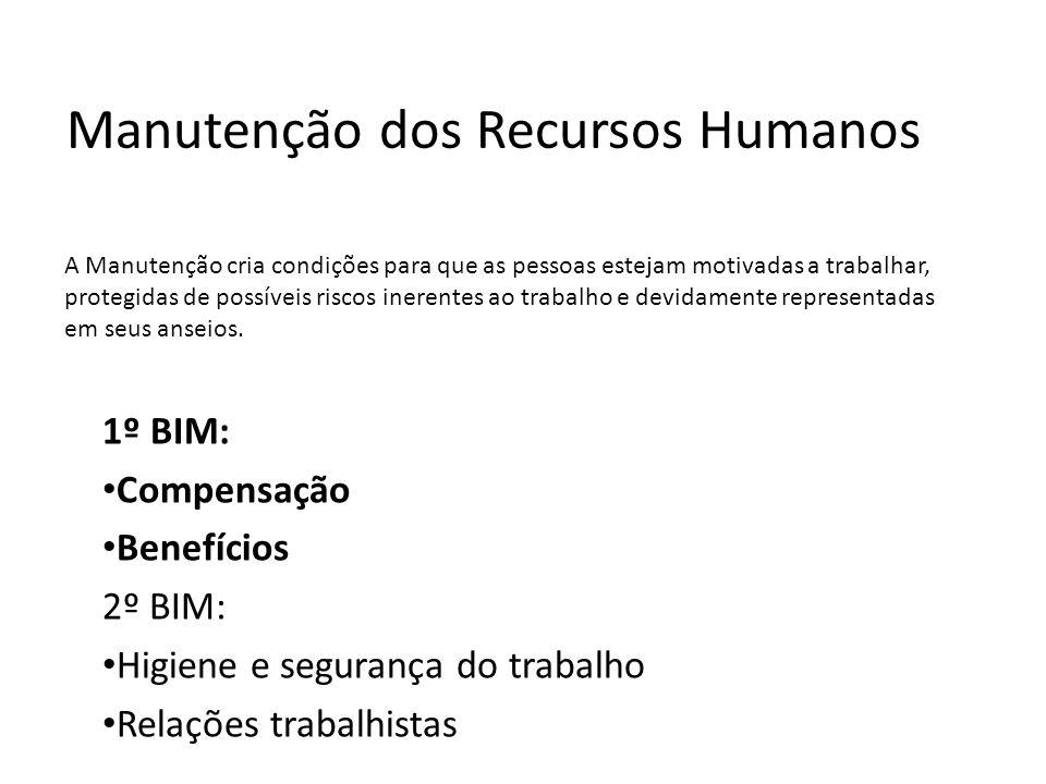 Subsistemas de RH RH 1: Provisão de Recursos Humanos (Análise de Funções e Descrições de Cargos, Recrutamento e Seleção) Avaliação de Desempenho, Trei