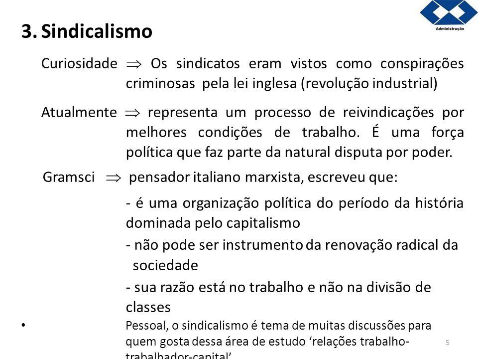 5 3.Sindicalismo Curiosidade Os sindicatos eram vistos como conspirações criminosas pela lei inglesa (revolução industrial) Atualmente representa um p