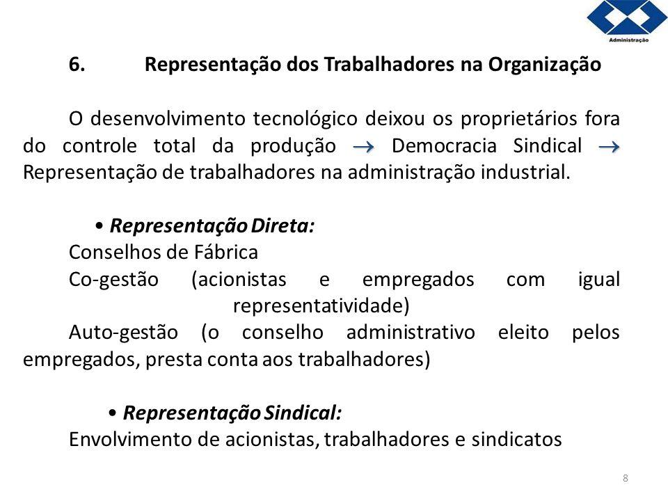 8 6.Representação dos Trabalhadores na Organização O desenvolvimento tecnológico deixou os proprietários fora do controle total da produção Democracia