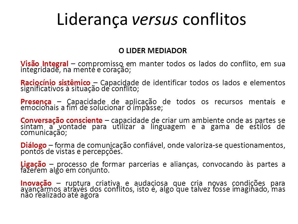 Liderança versus conflitos O LIDER MEDIADOR Visão Integral – compromisso em manter todos os lados do conflito, em sua integridade, na mente e coração;