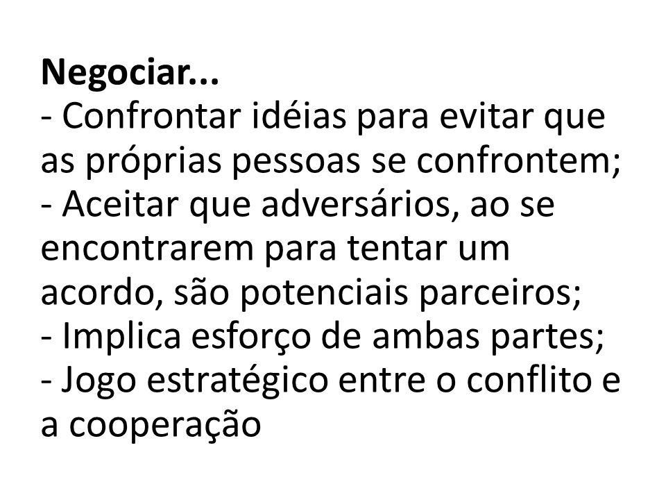 Negociar... - Confrontar idéias para evitar que as próprias pessoas se confrontem; - Aceitar que adversários, ao se encontrarem para tentar um acordo,