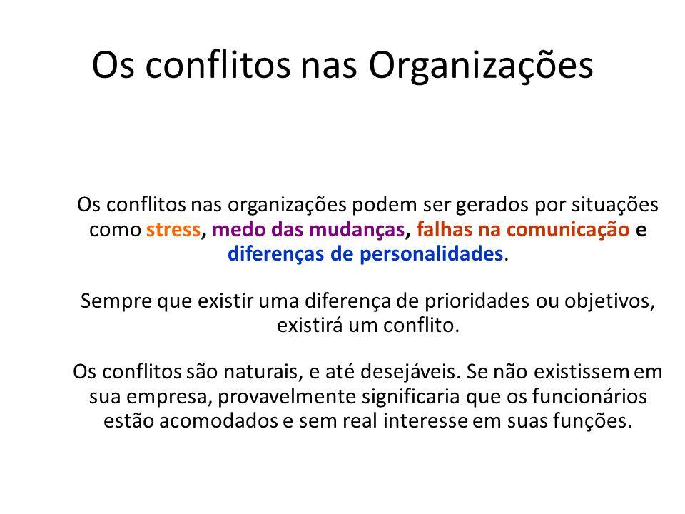 Os conflitos nas Organizações Os conflitos nas organizações podem ser gerados por situações como stress, medo das mudanças, falhas na comunicação e di