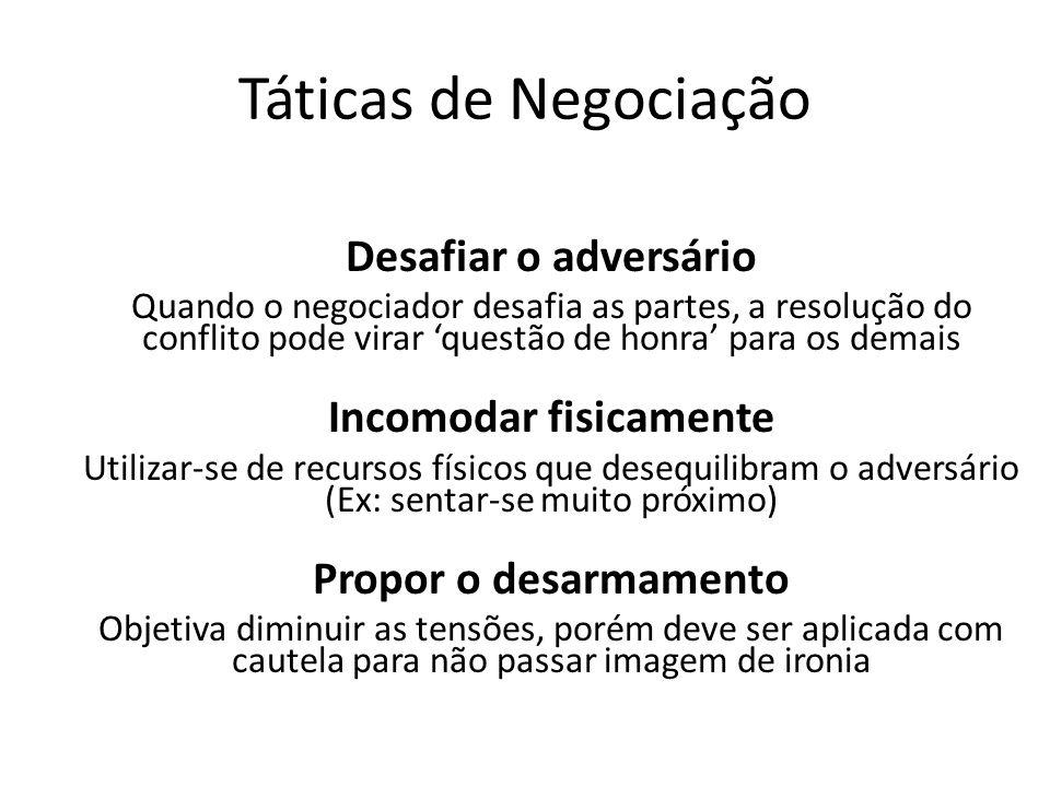 Táticas de Negociação Desafiar o adversário Quando o negociador desafia as partes, a resolução do conflito pode virar questão de honra para os demais