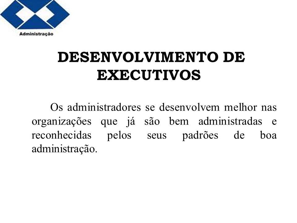Parte 2 DESENVOLVIMENTO DE EXECUTIVOS Os administradores se desenvolvem melhor nas organizações que já são bem administradas e reconhecidas pelos seus