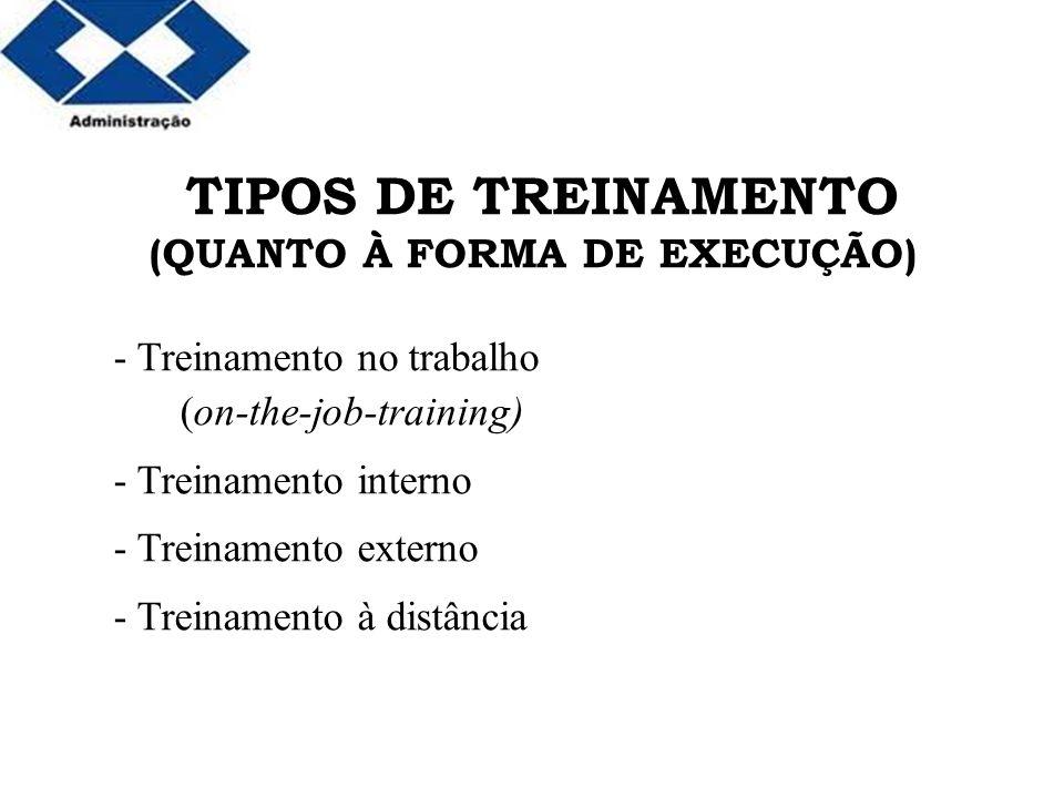 Parte 2 TIPOS DE TREINAMENTO (QUANTO À FORMA DE EXECUÇÃO) - Treinamento no trabalho (on-the-job-training) - Treinamento interno - Treinamento externo