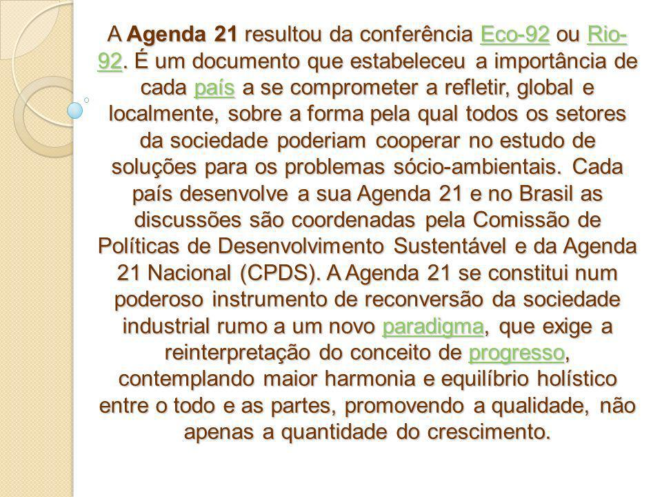 A Agenda 21 resultou da conferência Eco-92 ou Rio- 92. É um documento que estabeleceu a importância de cada país a se comprometer a refletir, global e